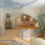 Декоративный камень на кухне ассиметричная кладка
