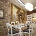 Декоративный камень на кухне отделка стен с фотопечатью