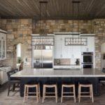 Декоративный камень на кухне стены и арки