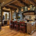 Декоративный камень на кухне стиль рустик
