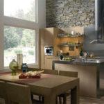 Декоративный камень на кухне в стиле хай-тек