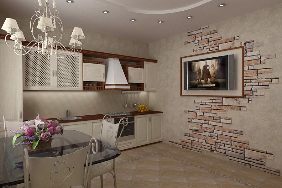 декоративный камень в отделке кухни как фон