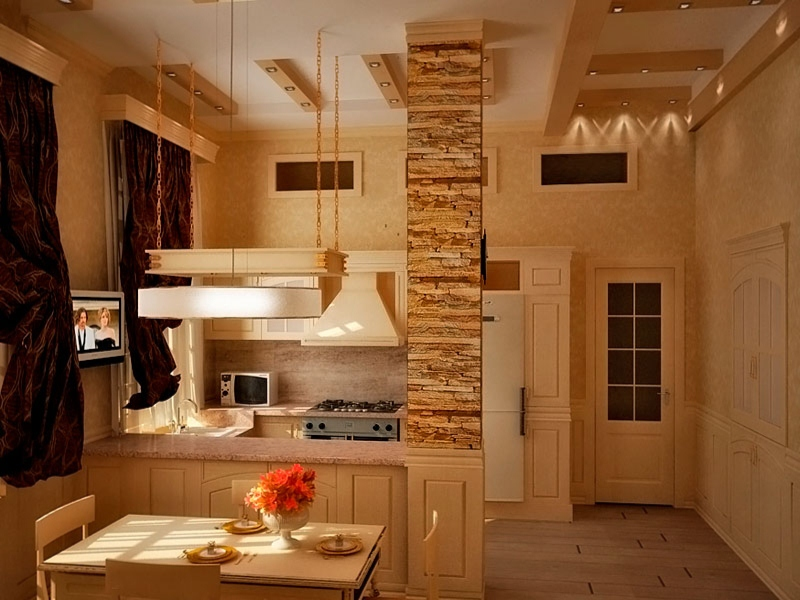 декоративный камень в отделке кухни колонна
