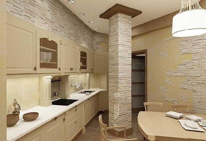 декоративный камень в отделке кухни стены