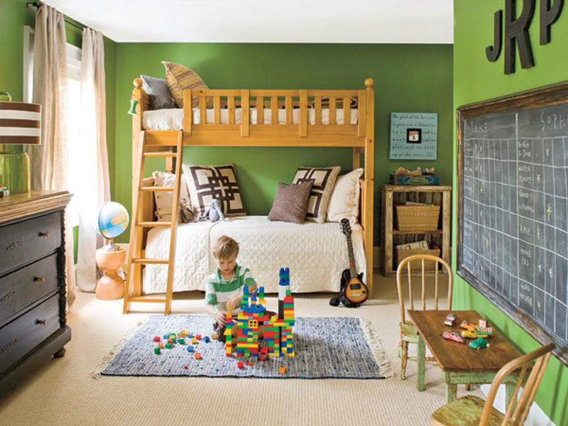 Дизайн детской комнаты для двух разнополых детей игровая зона