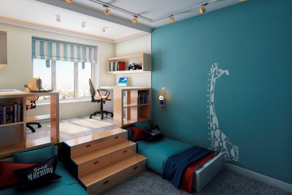 Дизайн детской комнаты для двух разнополых детей кровать под подиумом
