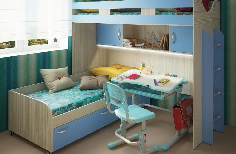 Дизайн детской комнаты для двух разнополых детей парта-трансформер