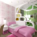 Дизайн детской комнаты для двух разнополых детей перегородка с полочками