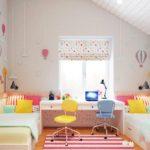 Дизайн детской комнаты для двух разнополых детей под мансардой