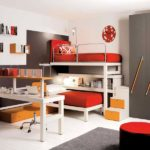 Дизайн детской комнаты для двух разнополых детей полки между ярусами