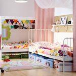 Дизайн детской комнаты для двух разнополых детей с балдахином