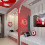Дизайн детской комнаты для двух разнополых детей с перегородкой красно-белая палитра