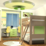 Дизайн детской комнаты для двух разнополых детей учебная зона на подиуме