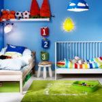 Дизайн детской комнаты для двух разнополых детей угловой вариант