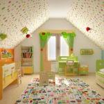 Дизайн детской комнаты для двух разнополых детей в мансарде