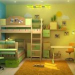 Дизайн детской комнаты для двух разнополых детей в зеленых тонах