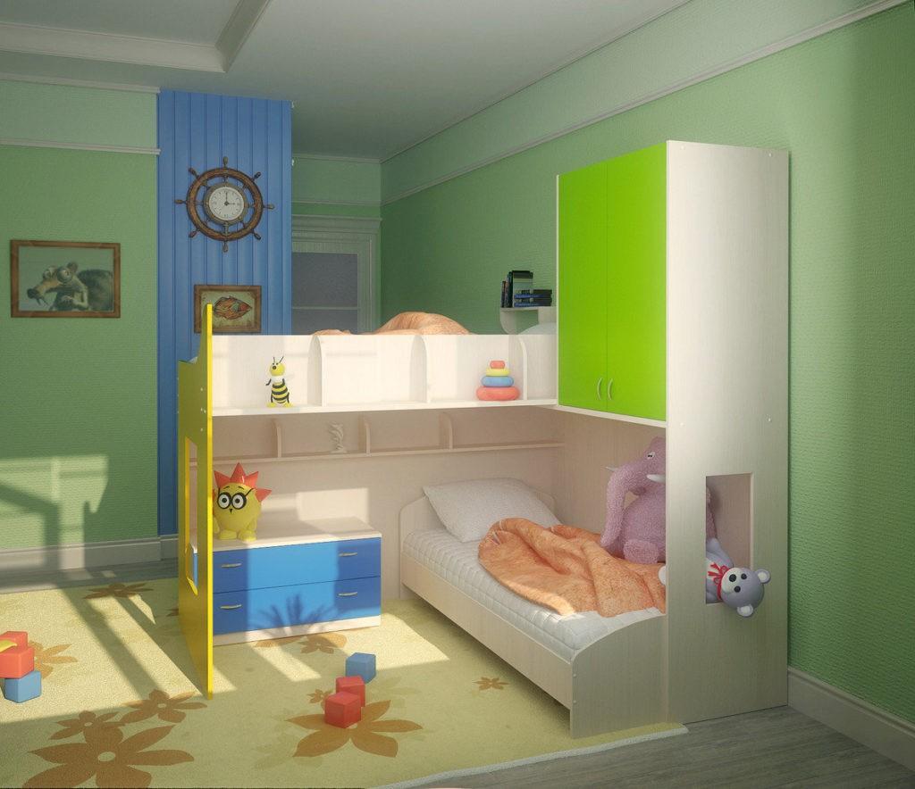 Дизайн детской комнаты для двух разнополых детей высокие потолки