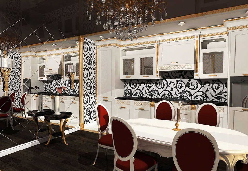 Дизайн кухни в современном стиле арт-деко коричневый и красный