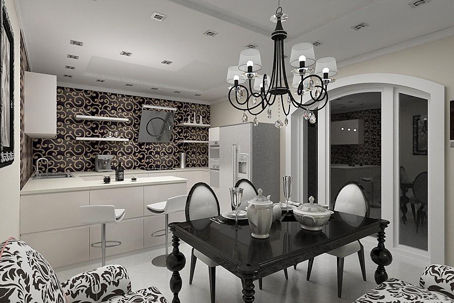 Дизайн кухни в современном стиле арт-деко роскошь