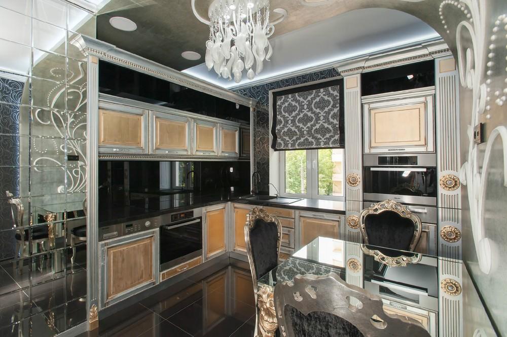 Дизайн кухни в современном стиле арт-деко стекло и позолота