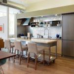Дизайн кухни в современном стиле с передвижной бар-стойкой