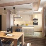 Дизайн кухни в современном стиле с разделением на зоны