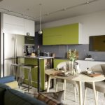 Дизайн кухни в современном стиле серо-зеленый колорит