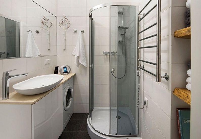 ванная с душевой кабиной и стиральной машиной