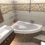 Дизайн ванной комнаты 6 кв м с мозаикой из мелкой кафельной плитки