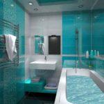 Дизайн ванной комнаты 6 кв м сочетание белого и бирюзового глянца