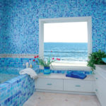 Дизайн ванной комнаты в частном доме кафель в ультрамариновых тонах
