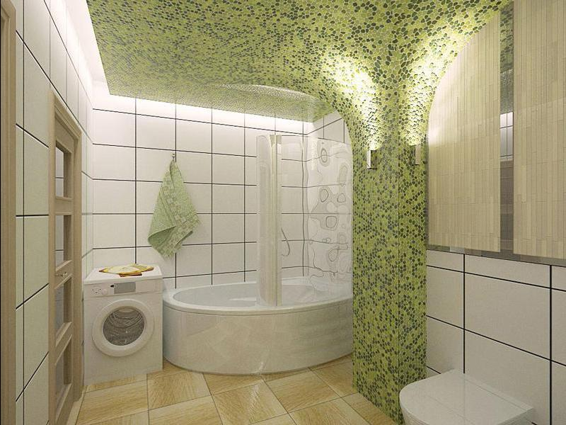 Дизайн ванной комнаты в частном доме с кафельной мозаикой