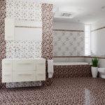 Дизайн ванной комнаты в частном доме с мозаичным кафелем