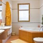 Дизайн ванной комнаты в частном доме в оранжевых тонах