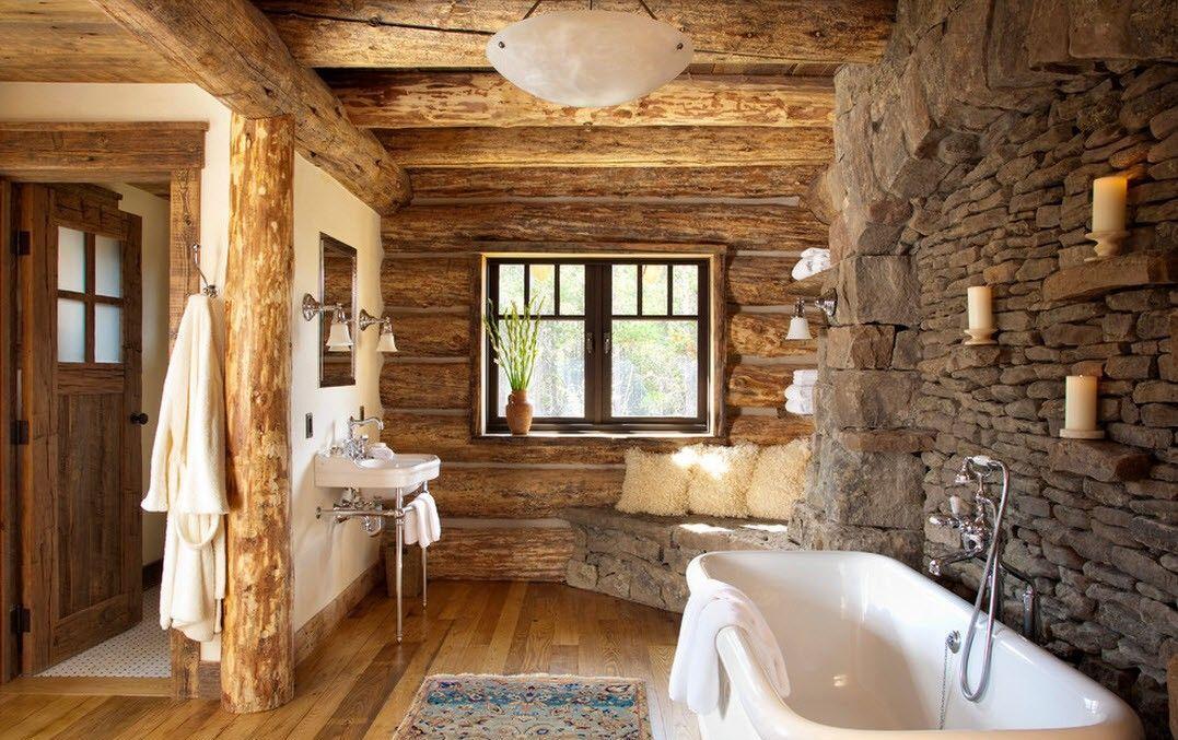 Дизайн ванной комнаты в деревянном доме с отделкой натуральным камнем