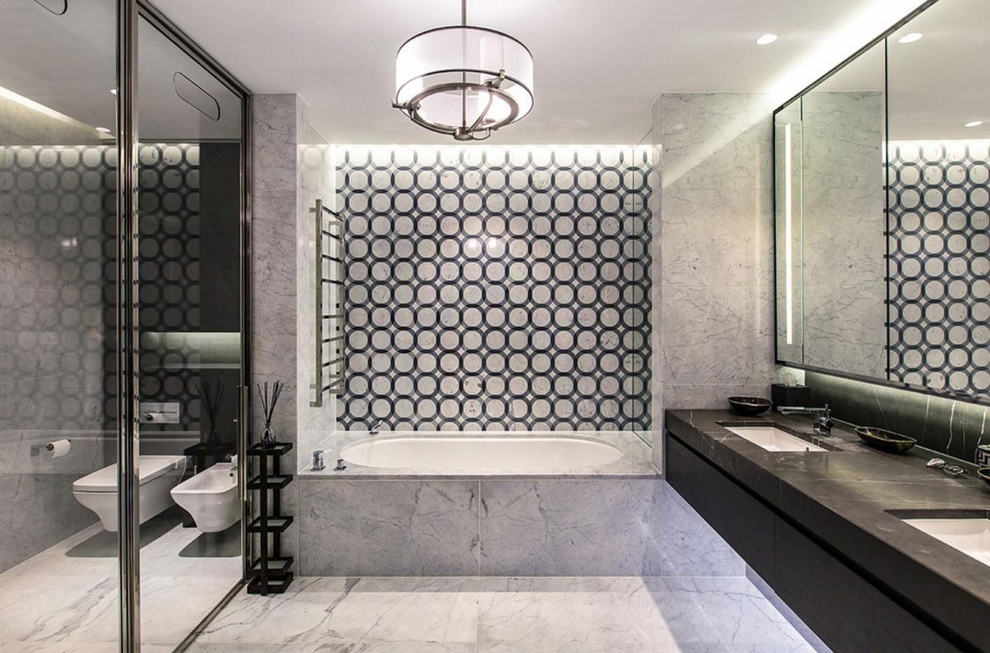 дизайн ванной с туалетом геометрические узоры