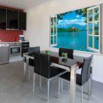 Фотообои в интерьере кухни 3d-иллюзия открытого окна