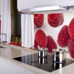 Фотообои в интерьере кухни аппетитные скинали.