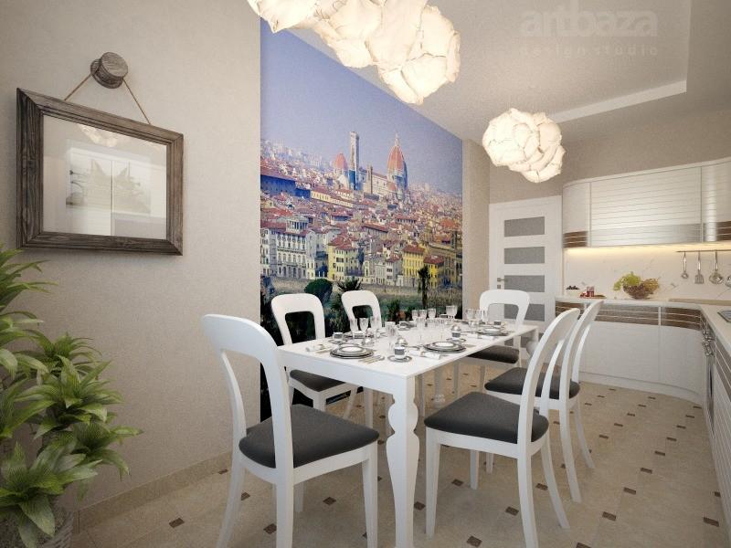 Фотообои в интерьере кухни часть стены