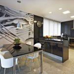Фотообои в интерьере кухни черно-белая макросъемка