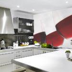 Фотообои в интерьере кухни макросъемка посуды