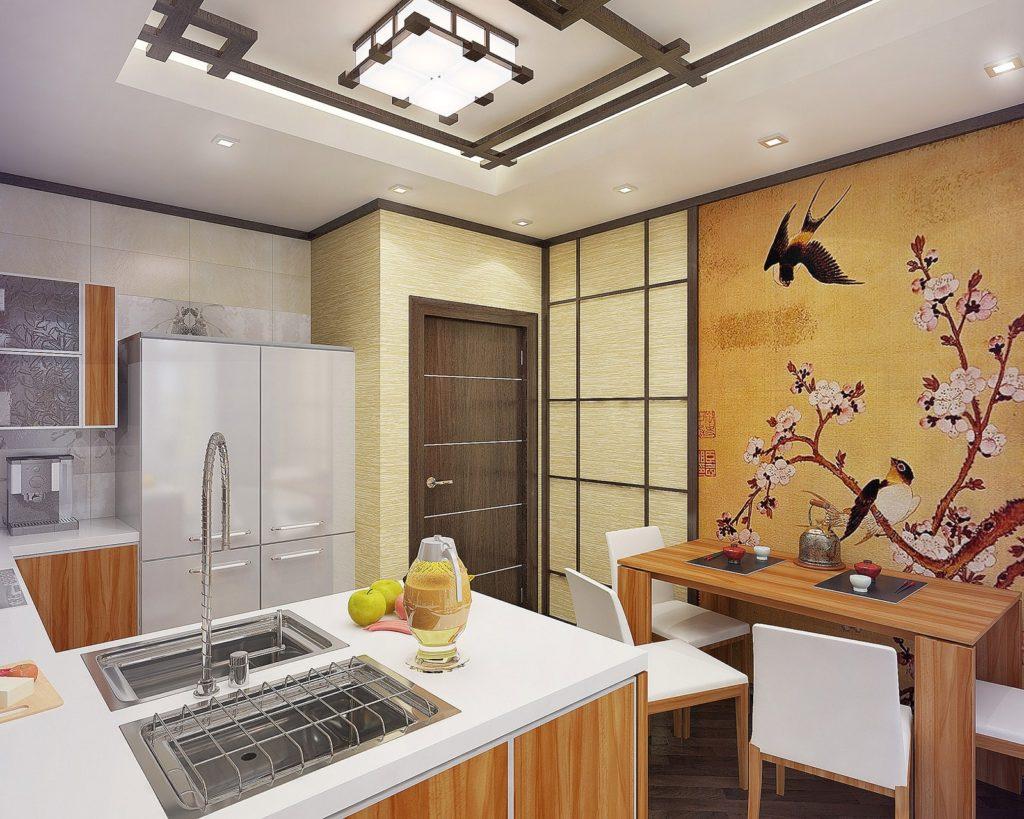 Фотообои в интерьере кухни на клеевой основе