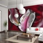 Фотообои в интерьере кухни с абстрактной живописью