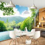 Фотообои в интерьере кухни с природным пейзажем