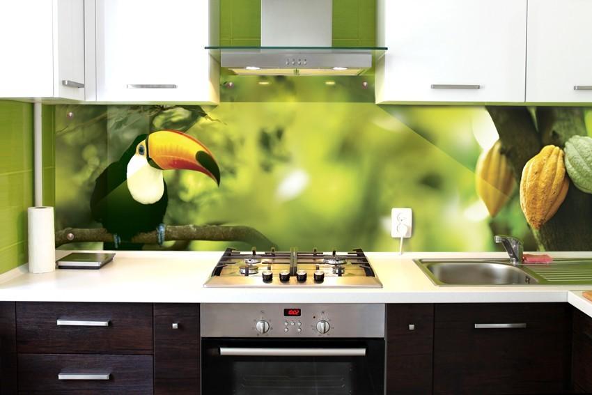 Фотообои в интерьере кухни скинали