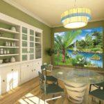 Фотообои в интерьере кухни создание яркого цветового пятна