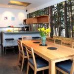 Фотообои в интерьере кухни в стиле эко