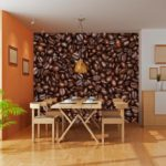 Фотообои в интерьере кухни зерна жаренного кофе