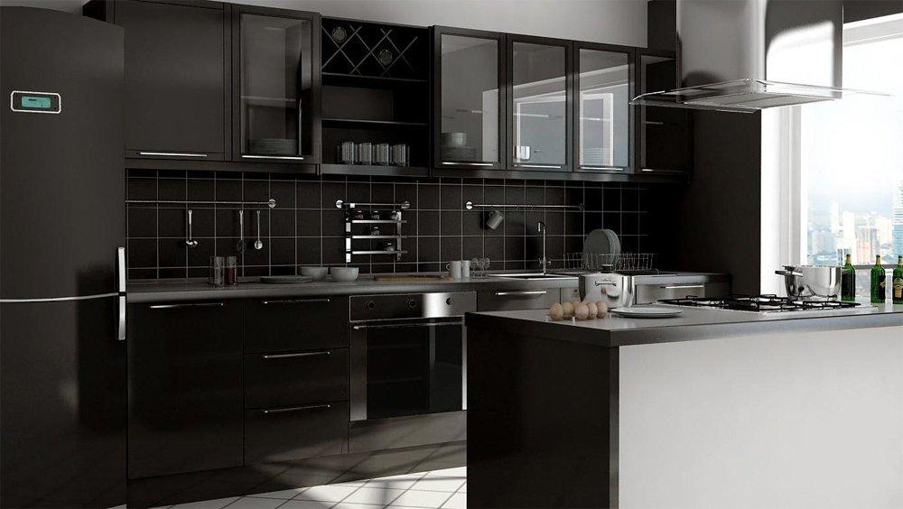 Холодильник черного цвета в интерьере черной кухни