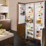 Холодильник в интерьере кухни двухсекционный встроенный